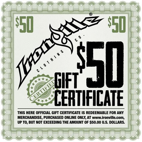 Clothing Store Gift Cards - bodybuilding gym clothing holiday gift certificate ironville gift card 50