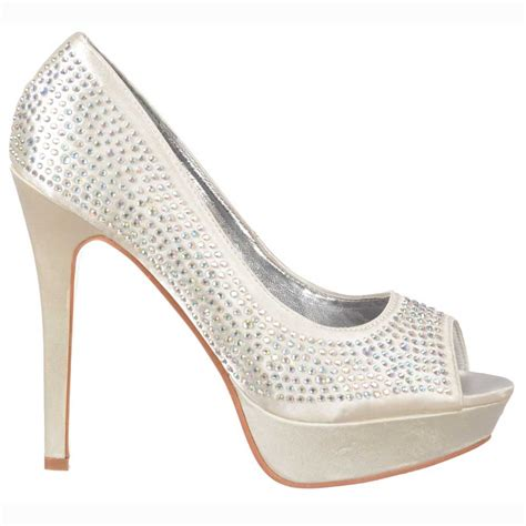 Platform Wedding Shoes by Shoekandi Peep Toe Diamante Stiletto Platform