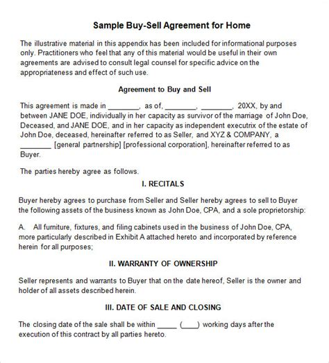 17 Sle Buy Sell Agreement Templates Sle Templates Home Buyout Agreement Template