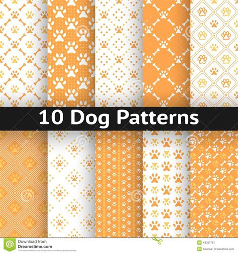 dog color pattern names set of dog seamless vector pattern of paw stock vector