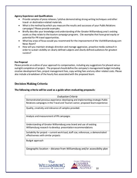 pr rfp template visit williamsburg pr agency request for rfp