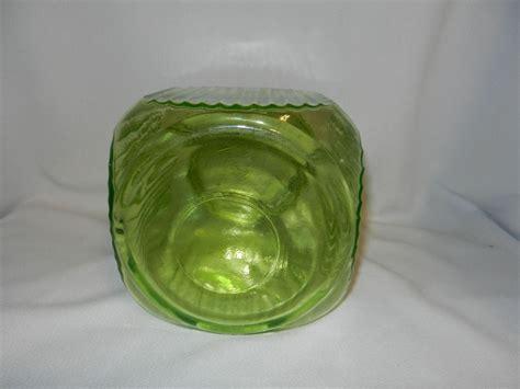 Depression Glass Ls vintage depression green uranium glass ribbed canister or