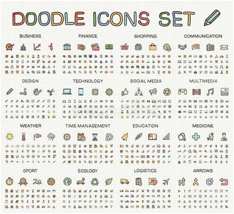 calendar doodle set up drawing line icons vector doodle pictogram set stock