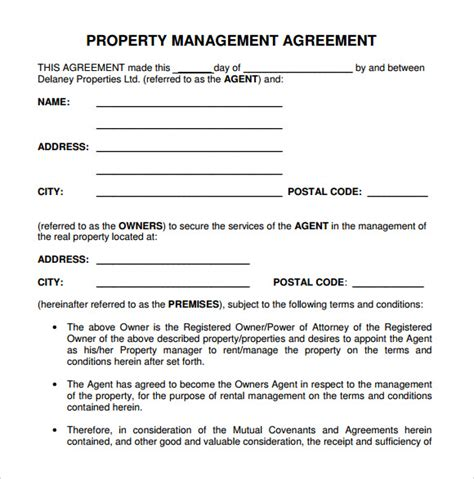 9 Sle Property Management Agreement Templates To Download Sle Templates Property Management Template