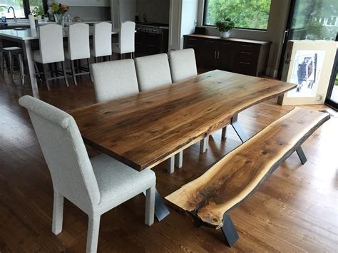 Walnut Live Edge Dining Table Live Edge Black Walnut Dining Table With Bench Live Edge