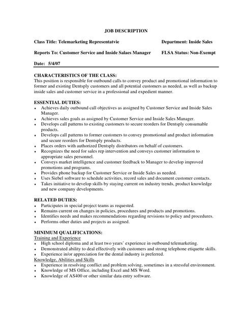 telemarketing description description class title telemarketing representatvie