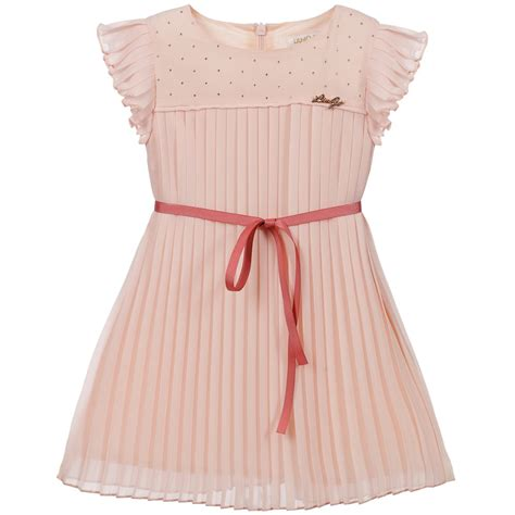 Dress Single Ribbon 0002 liu jo pink pleated dress with ribbon belt childrensalon