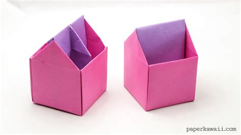 How To Make A Large Origami Box - origami toolbox pen pot paper kawaii