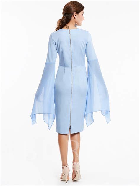Sleeve Asymmetrical Dress flare sleeve asymmetrical plain s bodycon dress