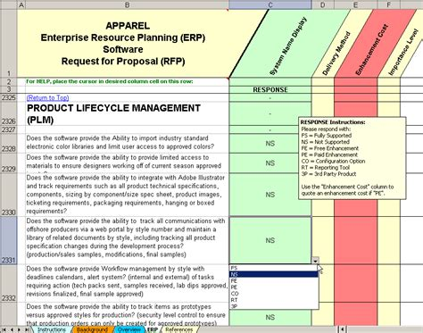 erp evaluation template apparel enterprise resource planning software selection
