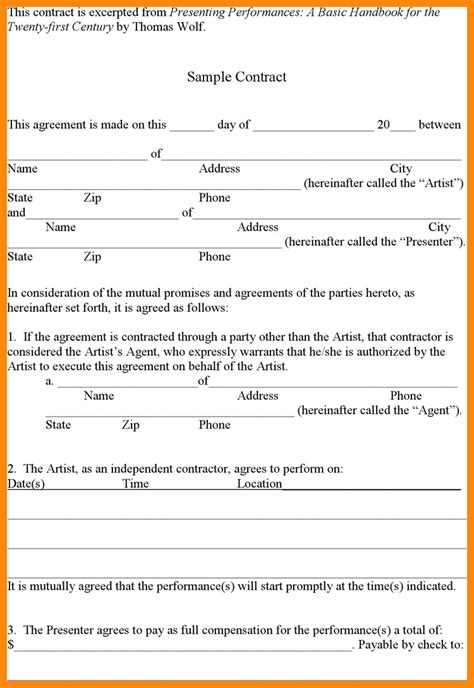 simple contract agreement template 10 simple contract agreement resumed