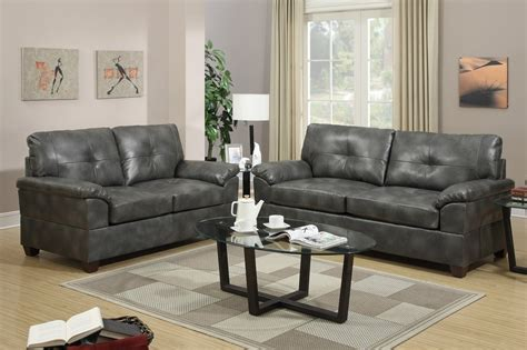 Grey Leather Set by Poundex Elimination F7583 Grey Leather Sofa And Loveseat