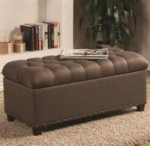 fabric ottoman storage bench warm brown tone fabric ottoman tufted storage bench