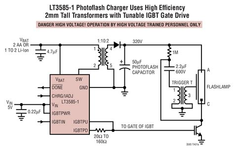 photoflash capacitor charger ic lt3585 photoflash charger with adjustable input current and igbt driver linear technology