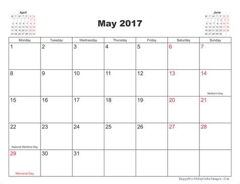 Printable Calendar With Holidays And Moon Phases May 2017 Calendar Printable Template With Holidays