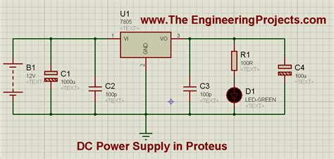 how capacitor work in dc supply design a 5v power supply in proteus the engineering projects
