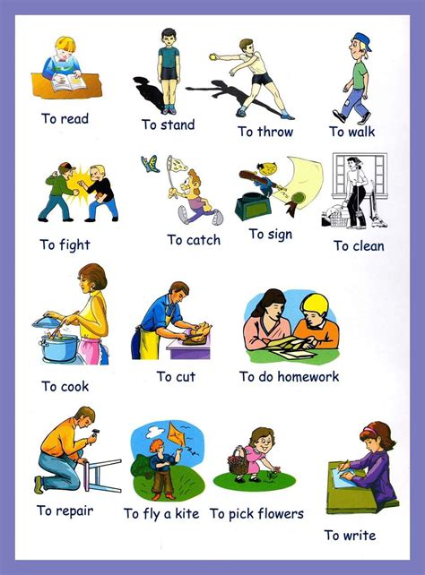 printable pictures verbs verbs pictures to download and print