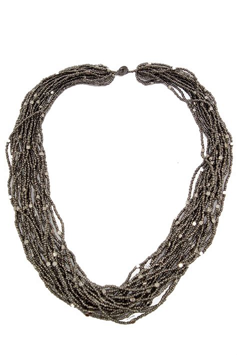 grey silver multi strand mid length beaded necklace