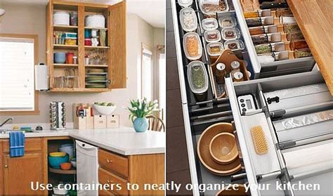organizing a kitchen use containers to neatly organize your kitchen