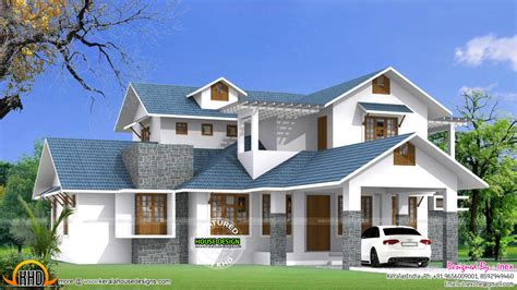 home blue beautiful blue roof house plan kerala home design and