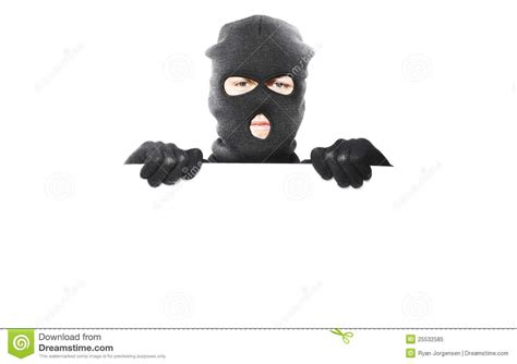 pattern white bandit mask price thief with robbery mask holding blank white board stock