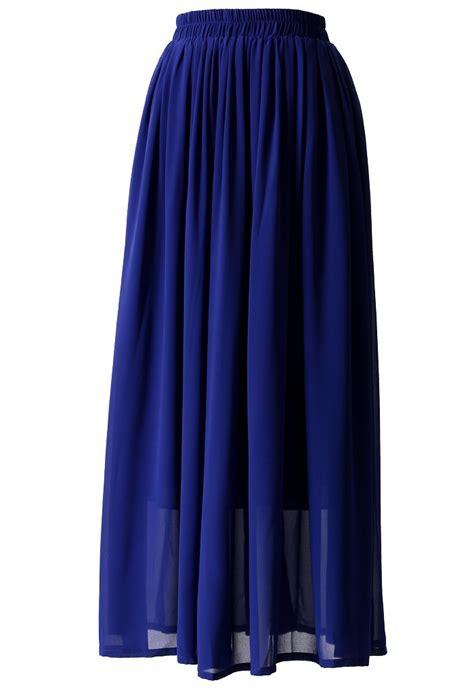 blue pleated maxi skirt retro and unique fashion