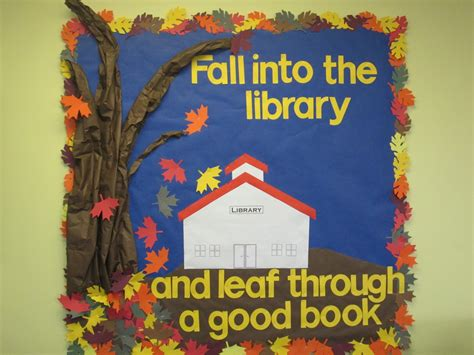 falling through the creek books fall bulletin board fall into the library and leaf