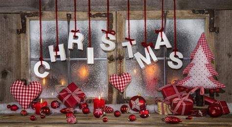 Fensterdeko Weihnachten Stock by Greeting Card In Wood Candles And With