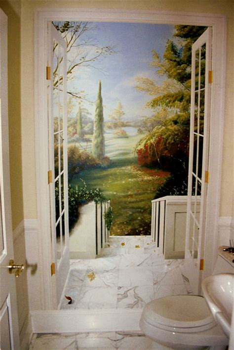 The Powder Room Nyc Trompe L Oeil Traditional Powder Room New York By