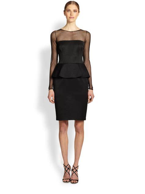 2 In 1 Peplum david meister sleeve illusion peplum dress in black