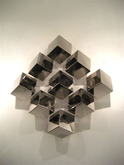 wall sculptures modern contemporary nickel plated multicubes large wall