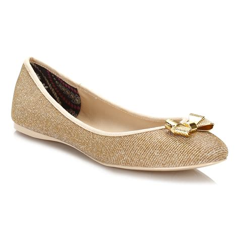 ted baker flat shoes ted baker womens flats gold sparkle imme j ballerina