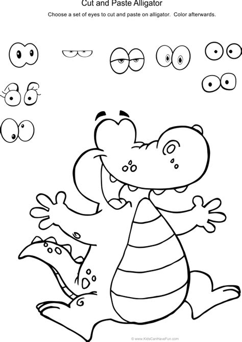 alligator coloring pages preschool cut and paste alligator activity you could use an