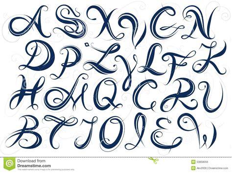 lettere particolari handwritten alphabet capital letters stock vector