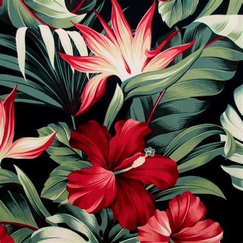tropical upholstery fabric designs fabric red hibiscus floral on black tropical hawaii bird of