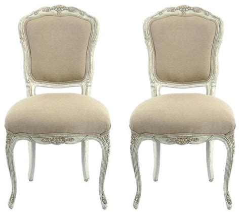 provence antiqued side chairs traditional