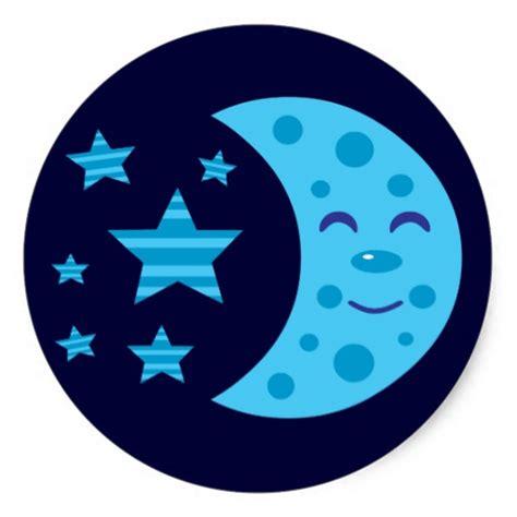 imagenes animadas luna luna azul y estrellas rayadas pegatina redonda zazzle