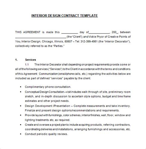 interior decorating contract template 8 interior designer contract templates free word pdf