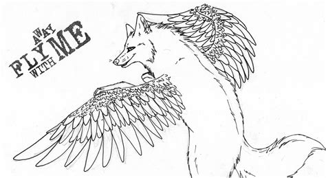 flying wolf coloring page flying wolf by pandoraswolf on deviantart