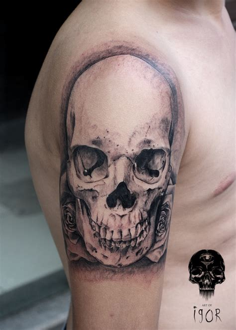 imagenes de calaveras en tatuajes tatuaje de calavera con rosas tatuajesxd