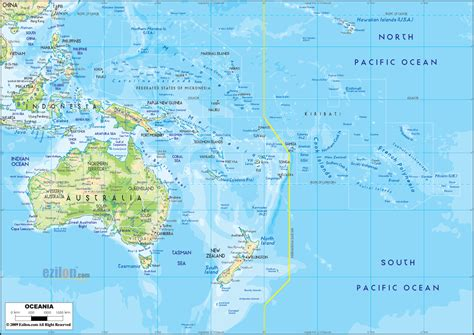 map of oceania countries physical map of oceania ezilon maps