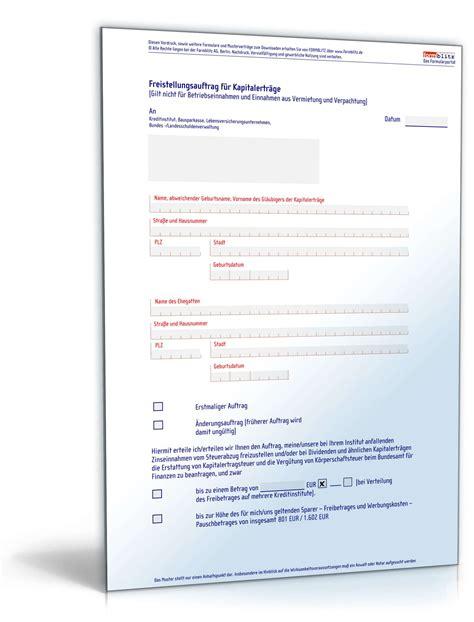 Musterbrief Erstattung Bearbeitungsgebühr Kredit Pdf Freistellungsauftrag F 252 R Kapitalertr 228 Ge Muster Zum