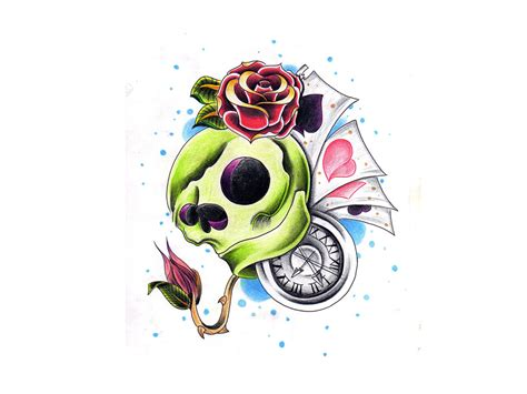 skull rose and bird tattoo clock skull roses and bird designs photo 4 2017
