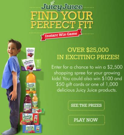 Juicy Juice Instant Win - juicy juice find your perfect fit instant win 25 000 winners free stuff finder