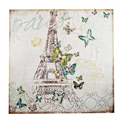 cuadros torre eiffel cuadro lienzo torre eiffel mariposas 80x80 cm