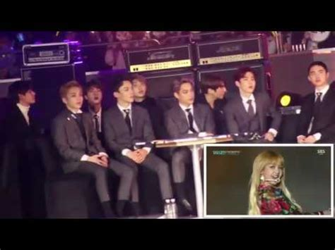 exo reaction to blackpink 161226 exo bts reaction to blackpink sbs gayo daejun