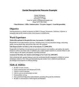 Receptionist Resume Exles by Sle Receptionist Resume 9 Free Documents In Pdf Word