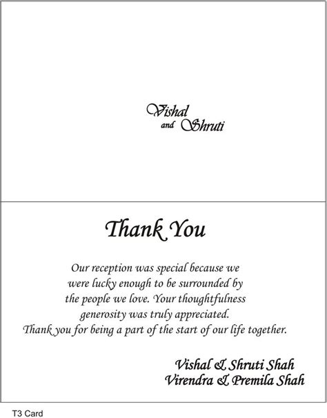 thank you letter after wedding sle thank you cards wedding wording search thank