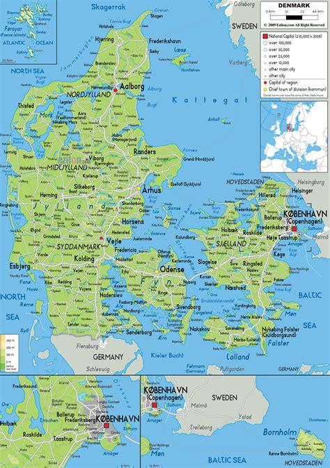 physical map of denmark physical map of denmark ezilon maps