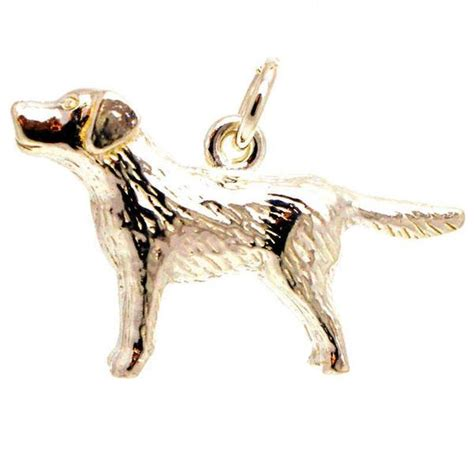gold labrador charm 9ct yellow and white gold